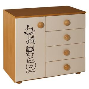Childrens cabinet with 4 drawers + door natur