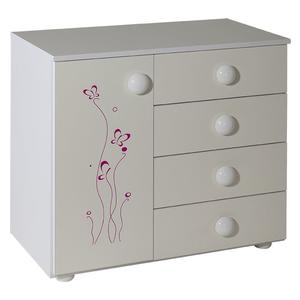 Childrens cabinet with 4 drawers + door white for room Lolek pink - 060