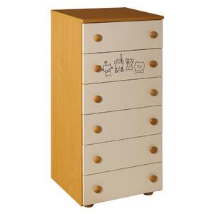 Childrens cabinet with 6 drawers natur for room Lolek natur beige - 066