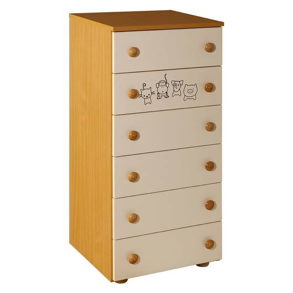 Childrens cabinet with 6 drawers natur for room Lolek natur beige - 066 Picture-1