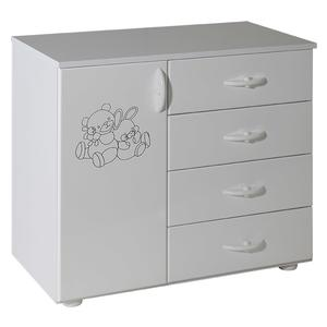 Childrens cabinet with 4 drawers + door white for room Vendy