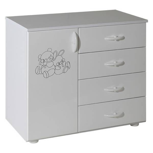 Childrens cabinet with 4 drawers + door white for room Vendy Picture-1