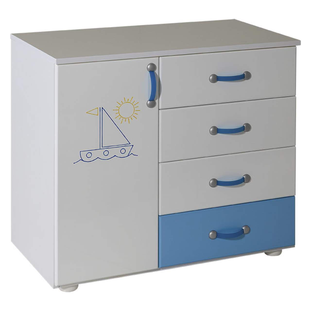 Beautiful Childrens Cabinet With 4 Drawers + Door White For Room Lilly Blue   060  Picture