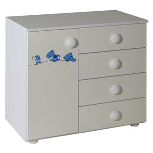 Childrens cabinet with 4 drawers + door white for room Maja blue - 060