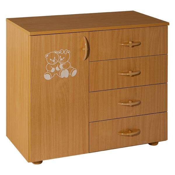 Childrens cabinet with 4 drawers + door natur for room Teddy Picture-1