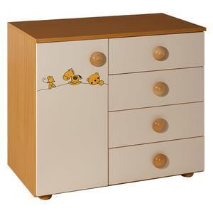 Childrens cabinet with 4 drawers + door natur beige for room Maja-063