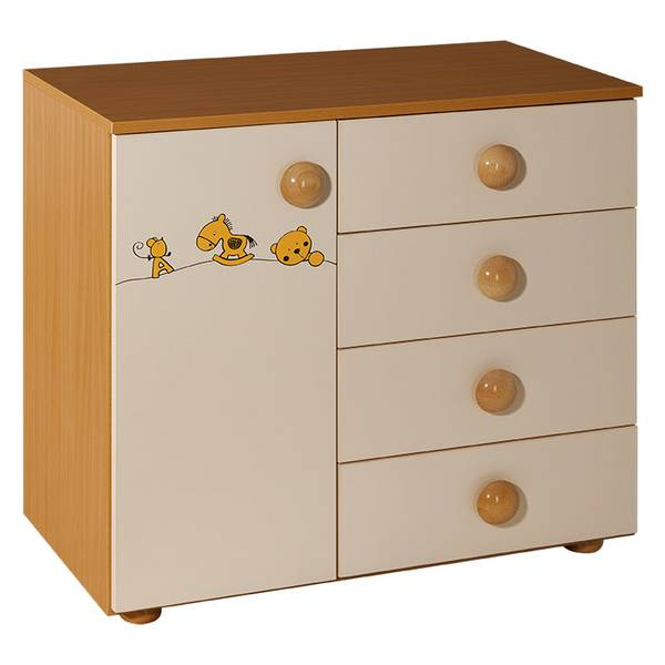 Childrens cabinet with 4 drawers + door natur beige for room Maja-063 Picture-1