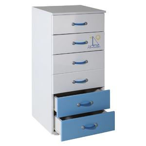 Childrens cabinet Hella with 6 drawers white with room Lilly blue -057