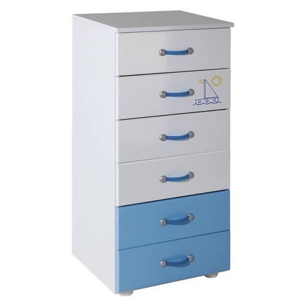 Ormarić Hella sa 6 fioke bela uz sobu Lilly plavi - 057 Slika-2