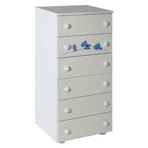 Ormarić Hella sa 6 fioke bela uz sobu Maja plavi - 057