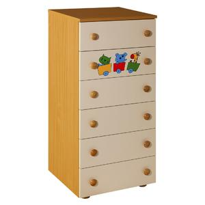Childrens cabinet Hella with 6 drawers nature with room Gloria -066