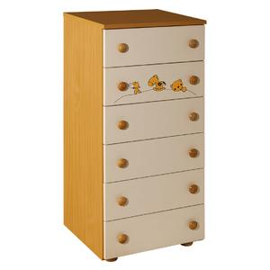 Childrens cabinet Hella with 6 drawers nature with room Maja -066