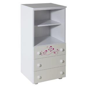 Ormarić sa 3 fioke beli uz sobu Lolek roza - 067