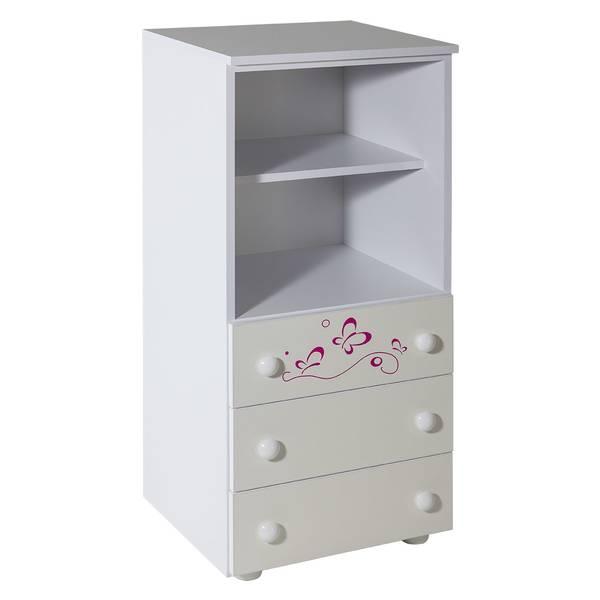 Ormarić sa 3 fioke beli uz sobu Lolek roza - 067 Slika-1